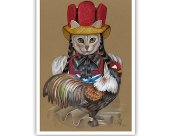 Cat of Black Forest III - Cat Art Print - Cat Paintings - Rooster Art - Funny Pet Portraits by Maria Pishvanova