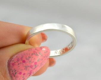 Gravure personnalisée, anneau de promesse, copain copine, bijou, anniversaire, partenaire de bague, bague en argent massif 925, minimaliste cadeau personnalisé