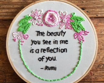 A reflection of you - hand embroidery hoop art