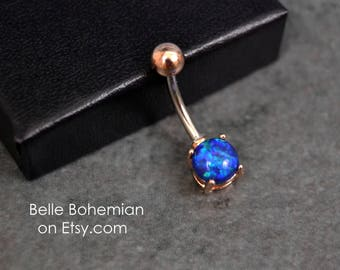 Belly Button Ring - Opal - Rose Gold - Blue Opal - Opal Belly Ring - Opal Belly Jewelry - 14G - Surgical Steel - Opal Navel Ring