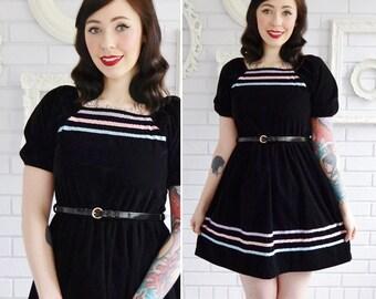 Vintage Black Velvet and Satin Ribbon Dress Women's XXS or Child's Large