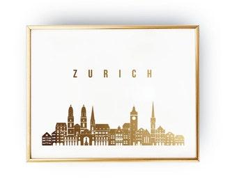 Zurich Print, Zurich Skyline, Zurich Cityscape, Skyline Art, Real Gold Foil Print,  Home Decor, Switzerland Print, Switzerland Wall Art, 5x7
