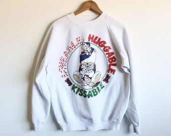 LARGE Vintage 1990s Loveable Huggable Kissable Sweatshirt