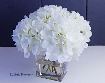 Silk hydrangea etsy white silk hydrangea faux water acrylicillusion real touch flowers mightylinksfo Image collections