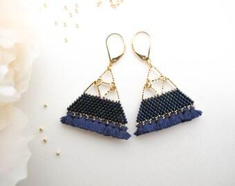 Chandelier Earrings / Beaded Earrings / Fringe Earrings / Dangle Earrings / Iridescent Blue / Handmade / Bridesmaid gift / Mother's day