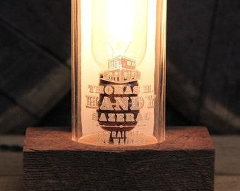 Handmade Thomas Handy Sazerac Whiskey Bourbon Bottle Lamp - Reclaimed Wood Base, Edison Bulb, Twisted Cloth Wire, In line Switch, Plug