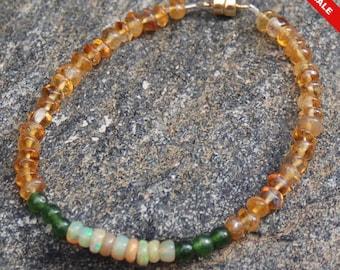 "Sale -  Opal Jade and Citrine Friendship Bracelet - Gemstone Bracelet - ""Sunflower"""