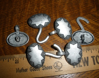 Cool Vintage Metal Button Clasp - Hook and Loop Coat Closure antique silver pewter color 1, 2 or 3 sets sew on toggle sweater frog