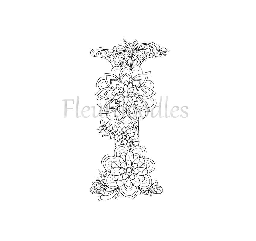 malseite zum ausdrucken buchstabe i floral