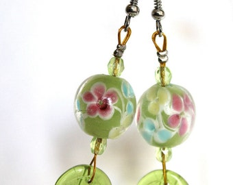 Lime green flower pattern earrings