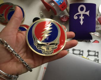 Grateful Dead Sticker-Metal Steal Your Face-3 and 1/8""