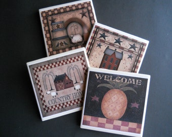 Primitive Home Coasters ~ Folk Art Coasters ~ Ceramic Tile Coasters ~ Housewarming Gift ~ Decorative Tiles ~ Prim Decor ~ Primitive  Decor