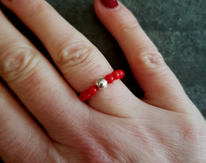 RED CORAL ring Sterling Silver stretch ring - Boho  Healing Yoga jewelry chakra jewellery gift