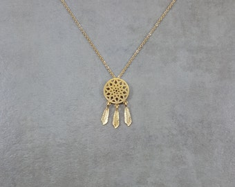 Dream Catcher Gold Necklace in Gift Box Gold 18K Good Luck Dreamy Fortune Dreamcatcher Catching Dreamy