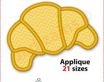 Croissant Applique Design. Croissant embroidery design. Croissant applique. Pastry applique. Embroidery croissant. Machine embroidery design