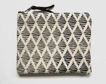 "Medium Canvas Screen Print Zip Pouch ""Thalia"" White/Black, Makeup Bag, Zipper Pouch, Clutch Bag, Bag for Her, Gift for Her, Zipper Pouch"
