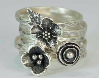 Sterling Flower Rings, Pod, Poppy Forget Me Not, Anemone, Metalsmith Jewelry