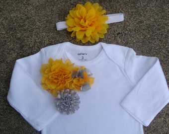 Baby onsies Baby outfit take home outfit baby girl outfit baby clothing handmade baby outfit newborn gown Yellow and Grey flowers outfit