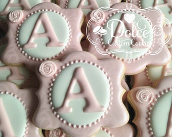 Monogram Cookies Elegant Wedding Anniversary Engagement Party Baptism Christening Milestone Birthday