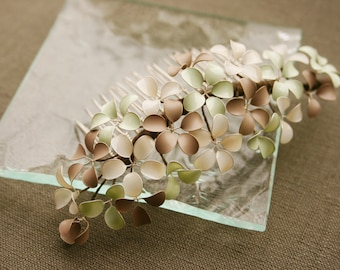 Bridal decorative haircomb with tiny flowers in ice cream colours, mint, cream, nougat, taupe, wedding, bride, hair accessories, comb