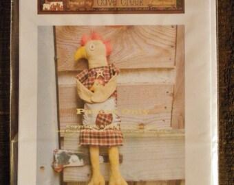 Primitive Chicken Lois Leghorn Printed Pattern, Animal Patterns, Doll Patterns