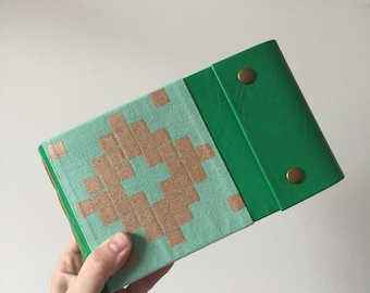 Sketchbook in Green Leather and Teal & Gold Linen Book Cloth, Snap Closures and 140lb. Hot Press Watercolour Paper