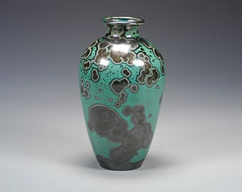 Porcelain Vase - Crystalline Glaze  - Green, Black - Hand Made Ceramics - FREE SHIPPING - #A-5306