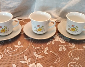 Mismatched Teacups and Saucers set of 3