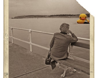 Big duck (Fine art photography, look, giant rubber duck, laugh, Santurce, Spain, fake vintage, old, sea, boat, coast, time, sleep)