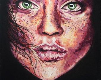 Digital Print - Textured Impressionist Portrait of Woman's Face Original Acrylic Painting on Canvas Art by Breanna Deis