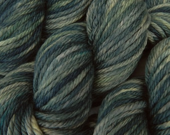 Hand Dyed Yarn, Bulky Weight Superwash Merino Wool - Denim - Thick Blue Tonal Bulky Yarn for Chunky Knits