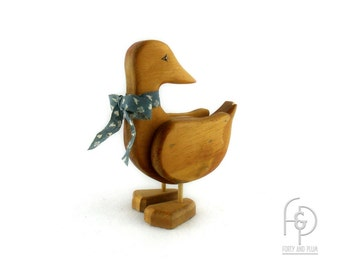 Wood Folk Art Style Carved Duck Childs Toy