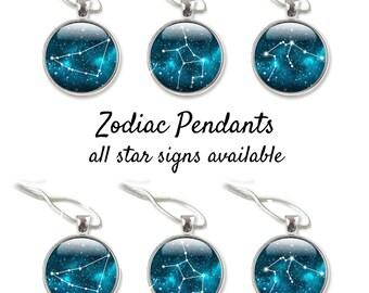 Horoscope Necklace, Constellation Jewelry, Zodiac Necklace, Star Sign Necklace, Zodiac Jewelry, Blue Jewelry Zodiac