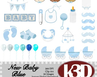 New Baby Boy clip art clipart instant digital download, embellishment. bunting, big, pacifier, balloons. 30 digital images, graphics