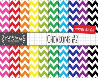 Chevron Digital Scrapbook Paper, Digital Paper Pack, Printable Paper, Commercial Use, Instant Download