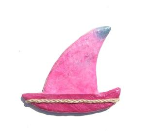 PINK SAILBOAT MAGNET, Decorative Hand Made Sail Boat Fridge Magnet,Boat Magnet,Nautical Design