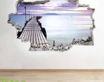 Ocean Pier Wall Sticker 3d Look - Sea Beach Sunset Bedroom Lounge Z158