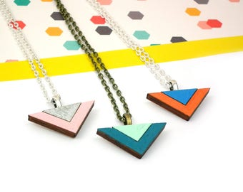 Geometric Necklace - Triangle Necklace - Laser Cut Jewellery - Gifts for Her - Birthday Gift - Wooden Jewelry - Statement Necklace