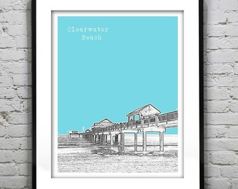Clearwater Beach Skyline Poster Art Print Florida FL Version 1
