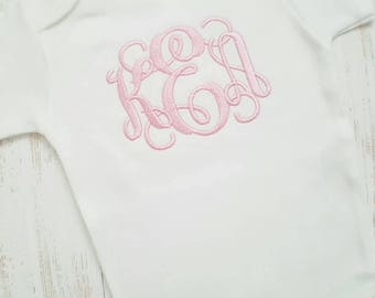 Personalized baby girl one piece- baby girl outfit, baby gift, take home outfit, newborn one piece, monogrammed outfit, embroidered, pink