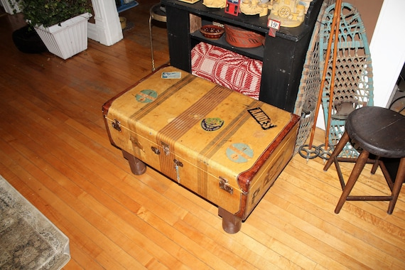Large Vintage Suitcase Coffee Table Cedar Lined with Travel Stickers