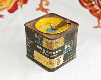 Vintage Bibb tin…Bibb brass screw tin…Kirkhill Inc. tin.