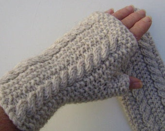 Cream Fingerless Gloves with Cables.Knit Hand Warmers. Fingerless Mittens. Wrist Warmers. Hand Knit. Gift for Her.