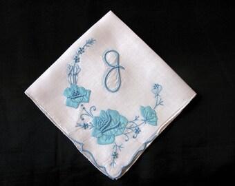 Blue Embroidered Handkerchief, Vintage Monogrammed Hankies, Initial P N M S B E D F J or A Monogram Hankie Letter Hankerchief
