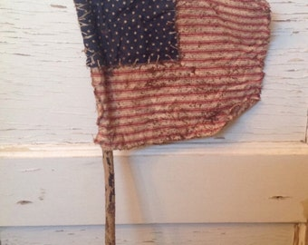 Primitive Americana Aged American Flag 4th of July Summer Holiday Memorial Day