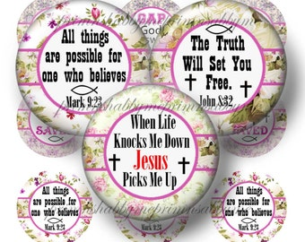 "CHRISTIAN, JESUS, Bible Verses, Bottle Cap Images,1 Inch Circles, Digital Collage sheet (No.2) 1"" Circles, Instant Download, Printable"