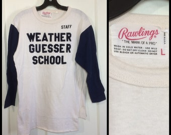 1960s Rawlings tag Weather Guesser School flocked print long sleeve 2 tone t-shirt size large 19x24 off white navy blue cotton jersey funny