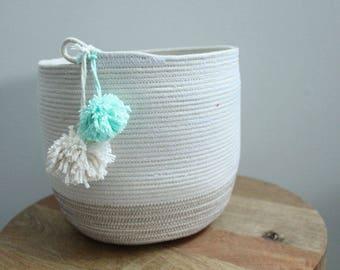 Basket rope coil bin storage organizer bowl pompoms natural grey mint by PETUNIAS