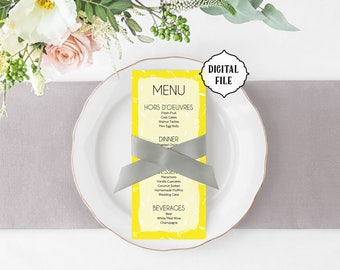Yellow wedding Menu, yellow menu, printable wedding menu, bright menu, colorful wedding menu, modern menu, wedding menu, diy menu, summer