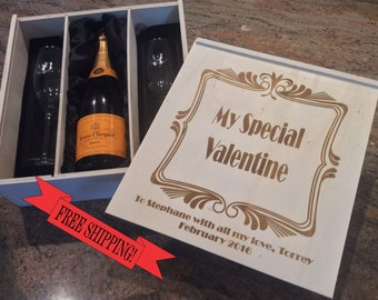 Valentine gift, Valentine present, Valentines day gift, for husband, for wife, for boyfriend, for girlfriend, romantic gift, Champagne box